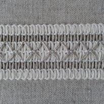 Фото 13 - Тесьма отделочная льняная с белым 32мм.