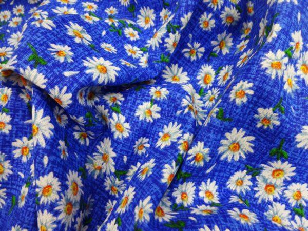 """Фото 5 - Ткань плательная """" ромашки"""" (синие)."""