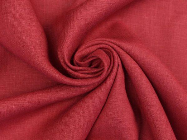 Фото 3 - Ткань лен 100% бордо умягченная.