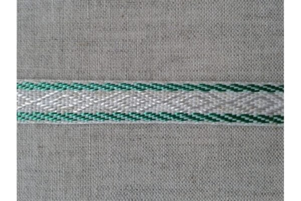 ЛЕНТА ОТДЕЛОЧНАЯ лен с зеленым 12мм