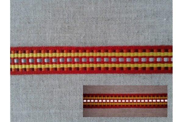 Фото 3 - ЛЕНТА светоотражающая  красный с жёлтым/1-полоска СВ, 15мм.