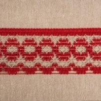 Фото 19 - ТЕСЬМА ВЯЗАНАЯ ОТДЕЛОЧНАЯ льняная  с  красным 46мм.