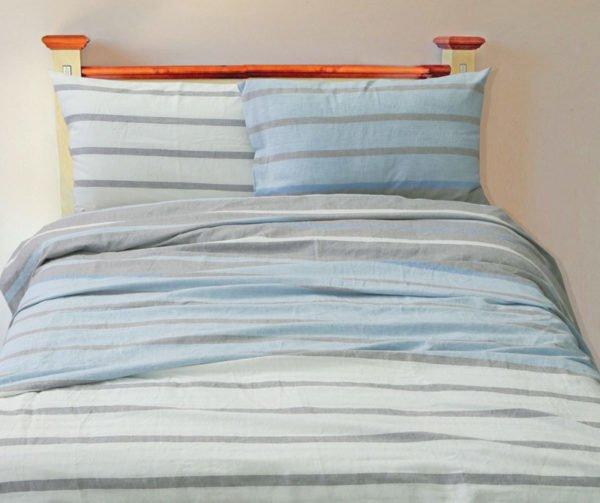 Фото 3 - Комплект постельного белья (евро) серо-голубой.
