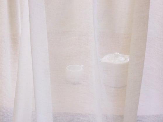 Фото 5 - Вуаль льняная белая (полулён)  лоскут.