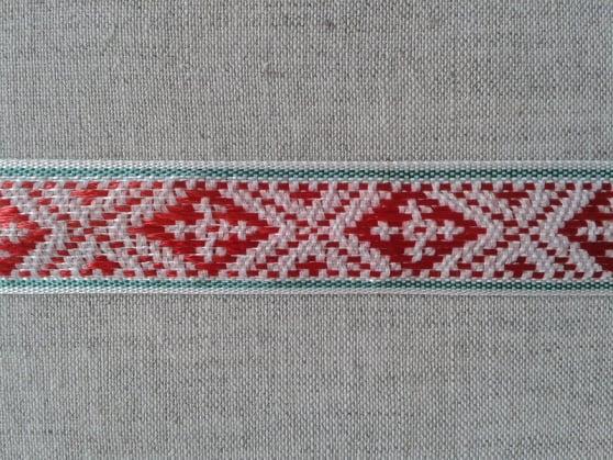 ЛЕНТА ОТДЕЛОЧНАЯ красный с черным на белом 20мм