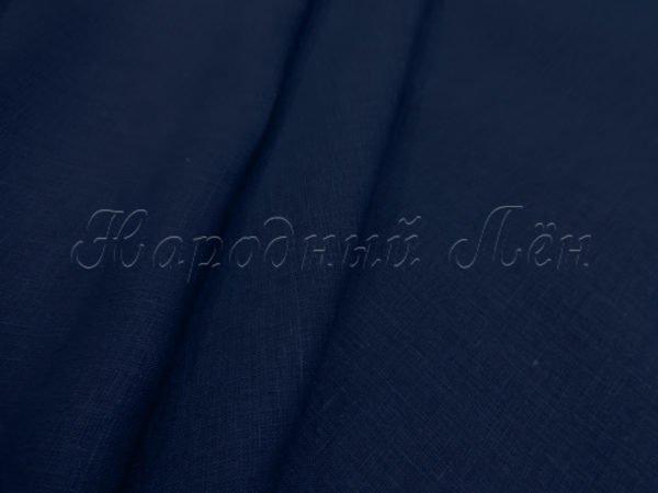 Фото 3 - Ткань льняная умягченная синяя лён 100%.