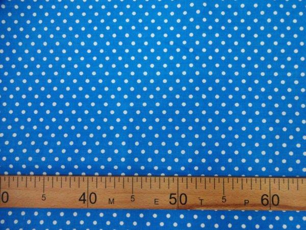 Ткань плательная   белый горох на голубом