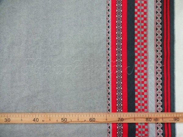 Фото 6 - Ткань льняная серая с  красной  каймой.