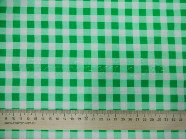 Фото 5 - Ткань плательная, зеленая  клетка.