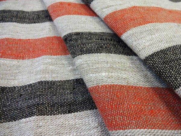 Фото 3 - Ткань льняная декоративная в  полоску (красная/черная).