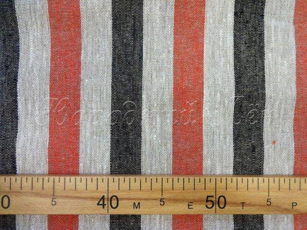 Фото 5 - Ткань льняная декоративная в  полоску (красная/черная).