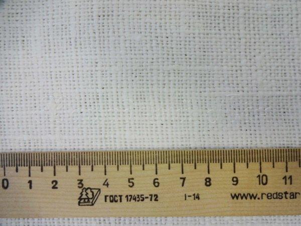 Фото 5 - Ткань декоративная рогожка льняная, белая.