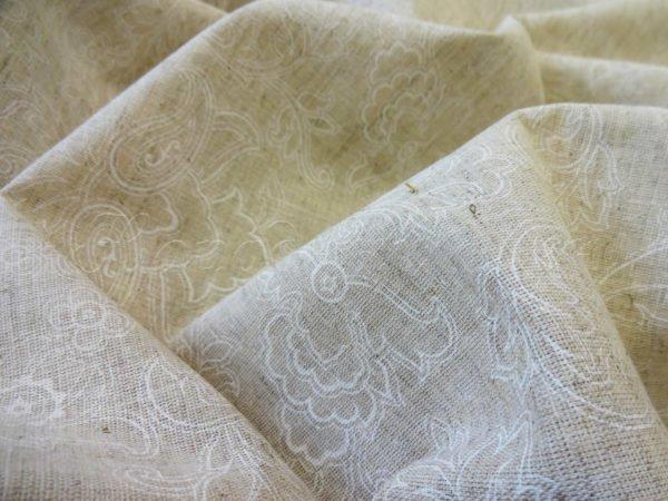 """Фото 5 - Ткань льняная """"Узор"""" белый на суровом ширина 220 см."""