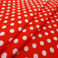 Ткань плательная белый горох на красном
