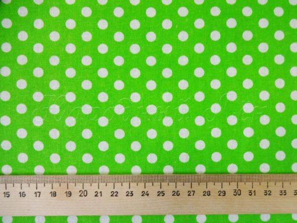 Фото 4 - Ткань плательная белый горох на ярко-зеленом.