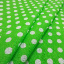 Ткань плательная белый горох на ярко-зеленом