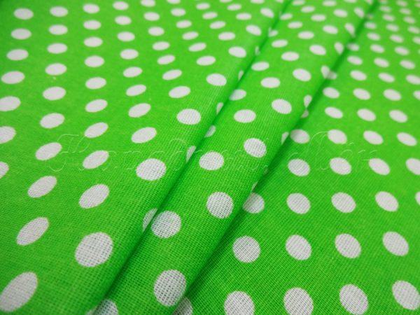Фото 3 - Ткань плательная белый горох на ярко-зеленом.