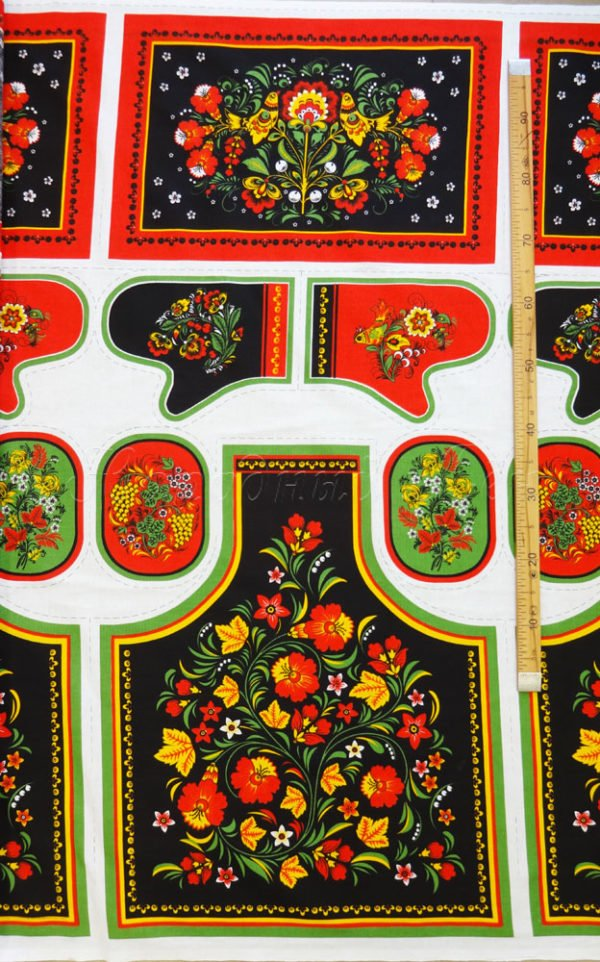 Фото 4 - Ткань льняная  купонная  цветы на  черном.