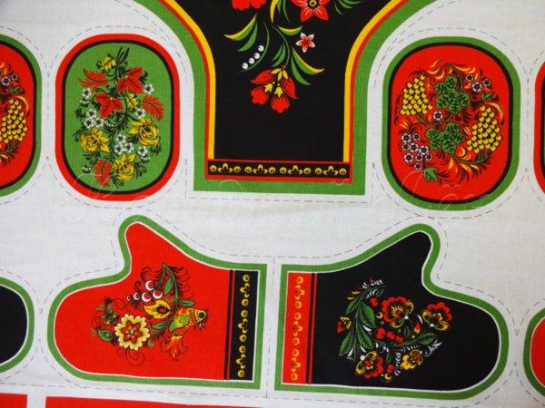 Фото 5 - Ткань льняная  купонная  цветы на  черном.