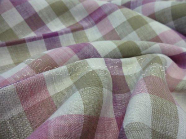 Фото 6 - Ткань для постельного белья в клетку шир. 220, лён 100%.