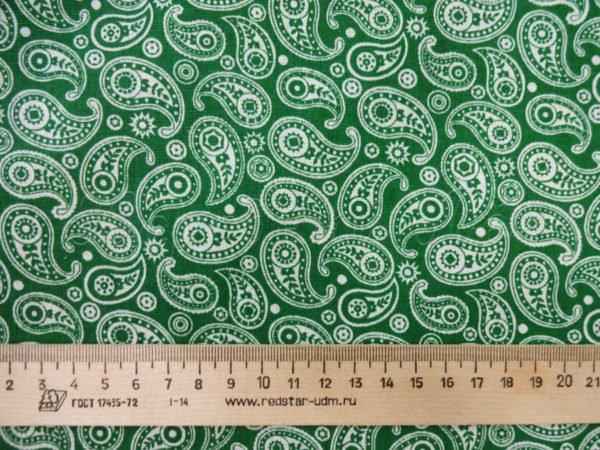 Фото 5 - Ткань плательная  белые огурцы на зеленом.
