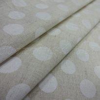 Фото 14 - Льняная ткань в белый горох (фон суровый).