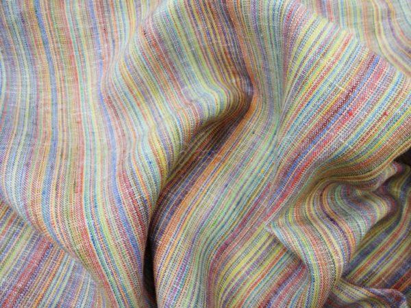 Фото 5 - Ткань костюмная, с цветными  просновками лен-100.
