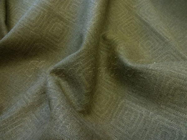 Фото 5 - Ткань льняная жаккардовая темно-оливковая.