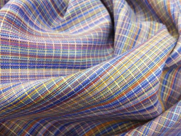 Фото 7 - Ткань льняная с просновками синяя, ширина 150 см.