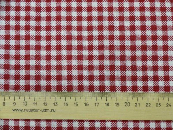 Фото 6 - Ткань плательная  мелкая бордовая клетка.