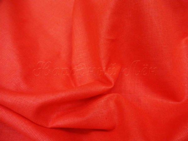 Фото 4 - Лен однотонный, красный.