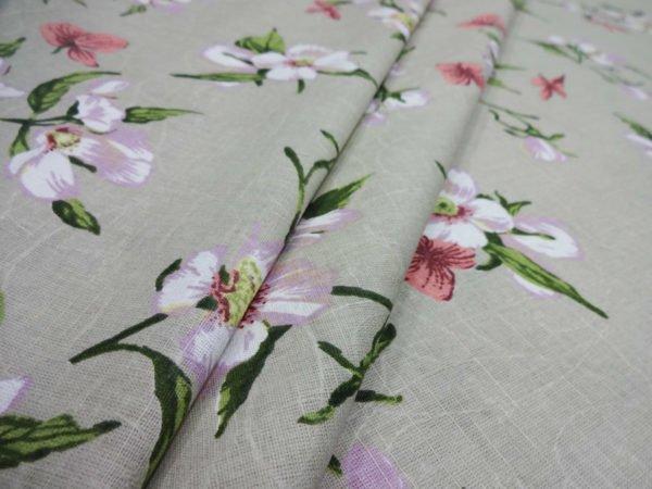 "Фото 3 - Ткань льняная жаккардовая набивная ""Нарциссы""."