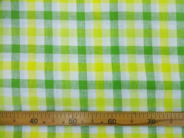 Фото 7 - Ткань для постельного белья в клетку ширина 180 см зелено-желтая.