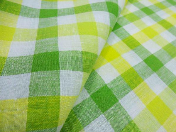 Фото 5 - Ткань для постельного белья в клетку ширина 180 см зелено-желтая.