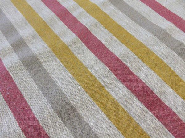 Фото 59 - Ткань льняная декоративная в полоску (красная/серая/желтая).