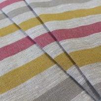 Ткань льняная декоративная в полоску (красная/серая/желтая)