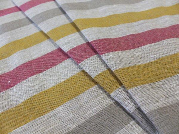 Фото 55 - Ткань льняная декоративная в полоску (красная/серая/желтая).