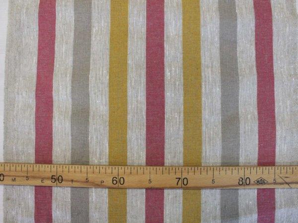 Фото 4 - Ткань льняная декоративная в полоску (красная/серая/желтая).