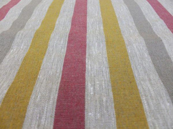 Фото 57 - Ткань льняная декоративная в полоску (красная/серая/желтая).