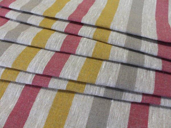 Фото 58 - Ткань льняная декоративная в полоску (красная/серая/желтая).