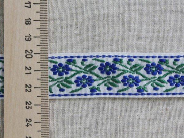 Лента отделочная жаккард (белый, вас, зеленый) 26мм