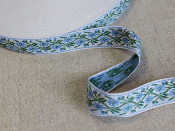 Фото 5 - Лента отделочная жаккард (белый, голубой, зеленый) 26мм.