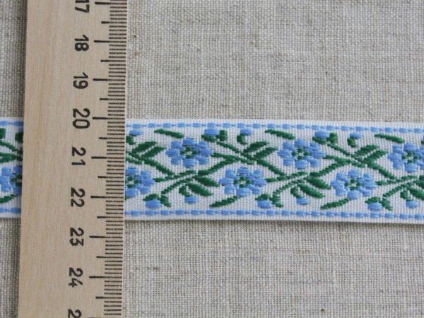 Фото 6 - Лента отделочная жаккард (белый, голубой, зеленый) 26мм.