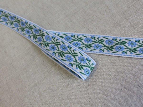 Фото 3 - Лента отделочная жаккард (белый, голубой, зеленый) 26мм.