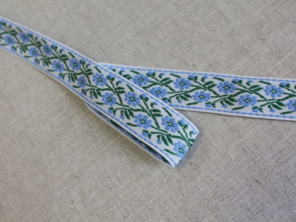 Лента отделочная жаккард (белый, голубой, зеленый) 26мм