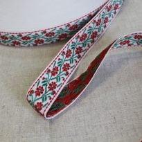 Лента отделочная жаккард (белый, красный, зеленый) 26мм