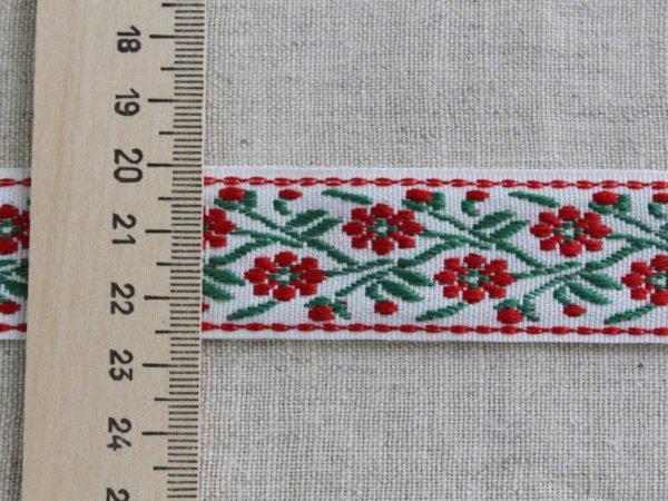 Фото 5 - Лента отделочная жаккард (белый, красный, зеленый) 26мм.