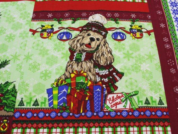 """Фото 7 - Вафельное полотно """"Собачки"""" зеленое, 1 купон - 60 см."""