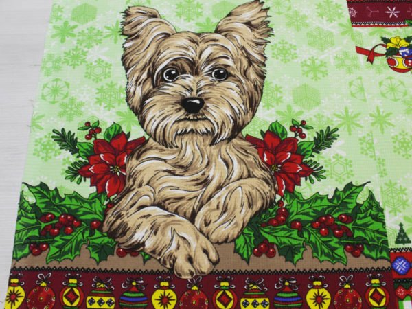 """Фото 6 - Вафельное полотно """"Собачки"""" зеленое, 1 купон - 60 см."""
