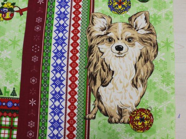 """Фото 8 - Вафельное полотно """"Собачки"""" зеленое, 1 купон - 60 см."""